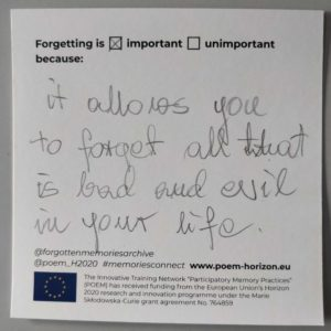 """Forgetting is important because it allows you to forget all that is bad and evil in your life."""