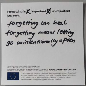 """Forgetting is important and unimportant because forgetting can heal and forgetting means letting go unintentionally often."""
